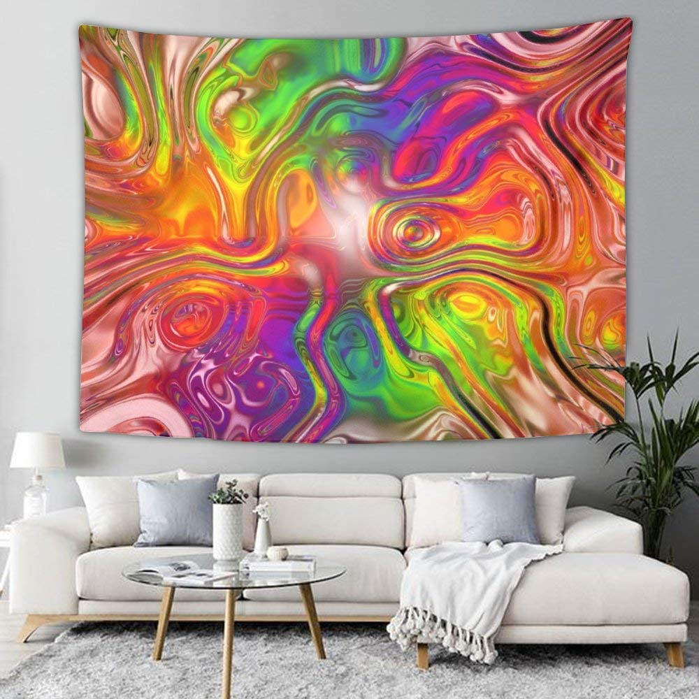 NiYoung Fashion Colors Rainbow Tapestry Wall Hanging, Hippie Bohemian Wall Tapestry for Living Room Bedroom Dorm Decor, Beach Blanket Window Curtain Picnic Mat Large Tablecloths (60
