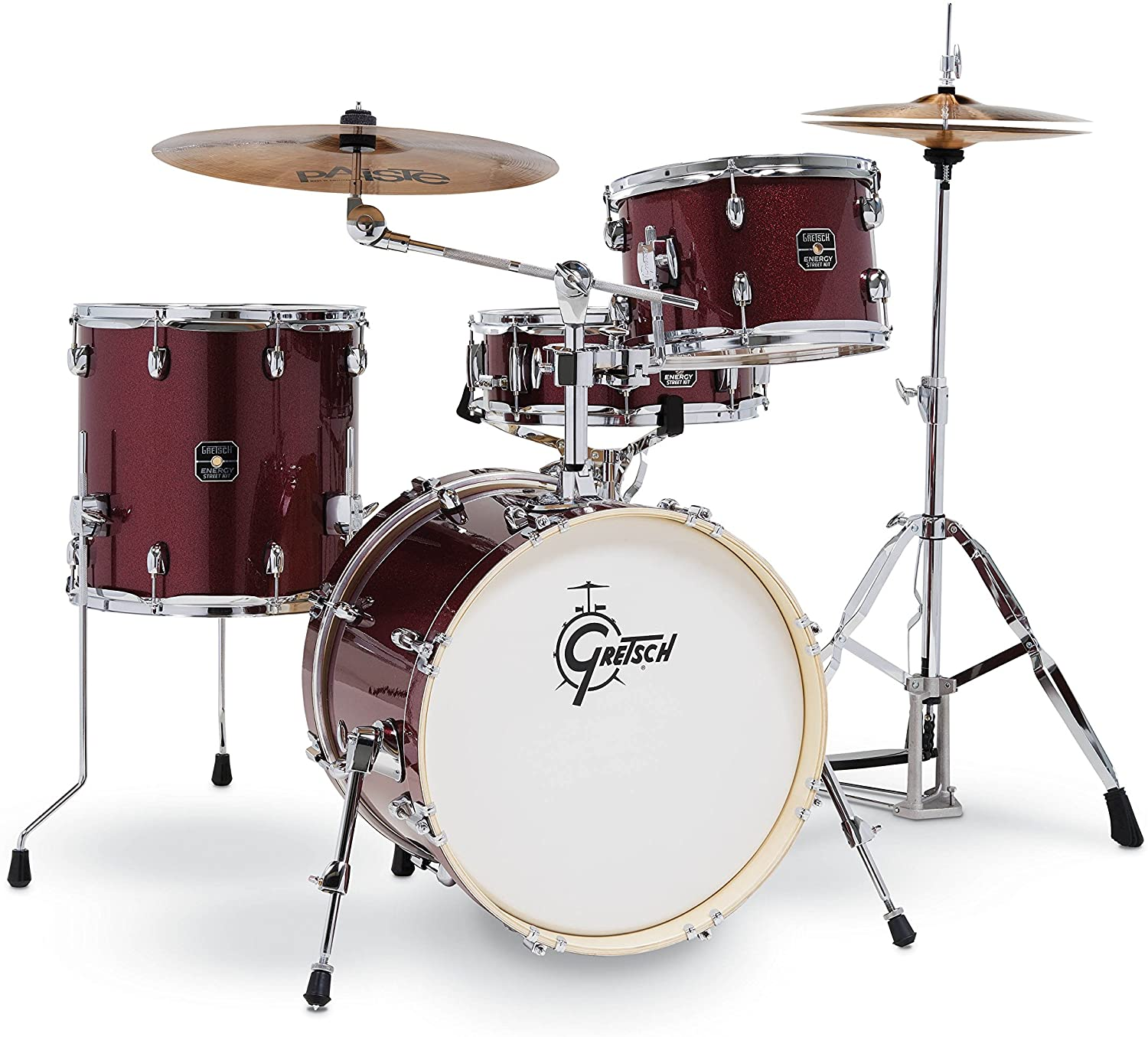 Gretsch Energy 4 Piece Street Kit With Hardware (18/12/14/14SN) Ruby Sparkle