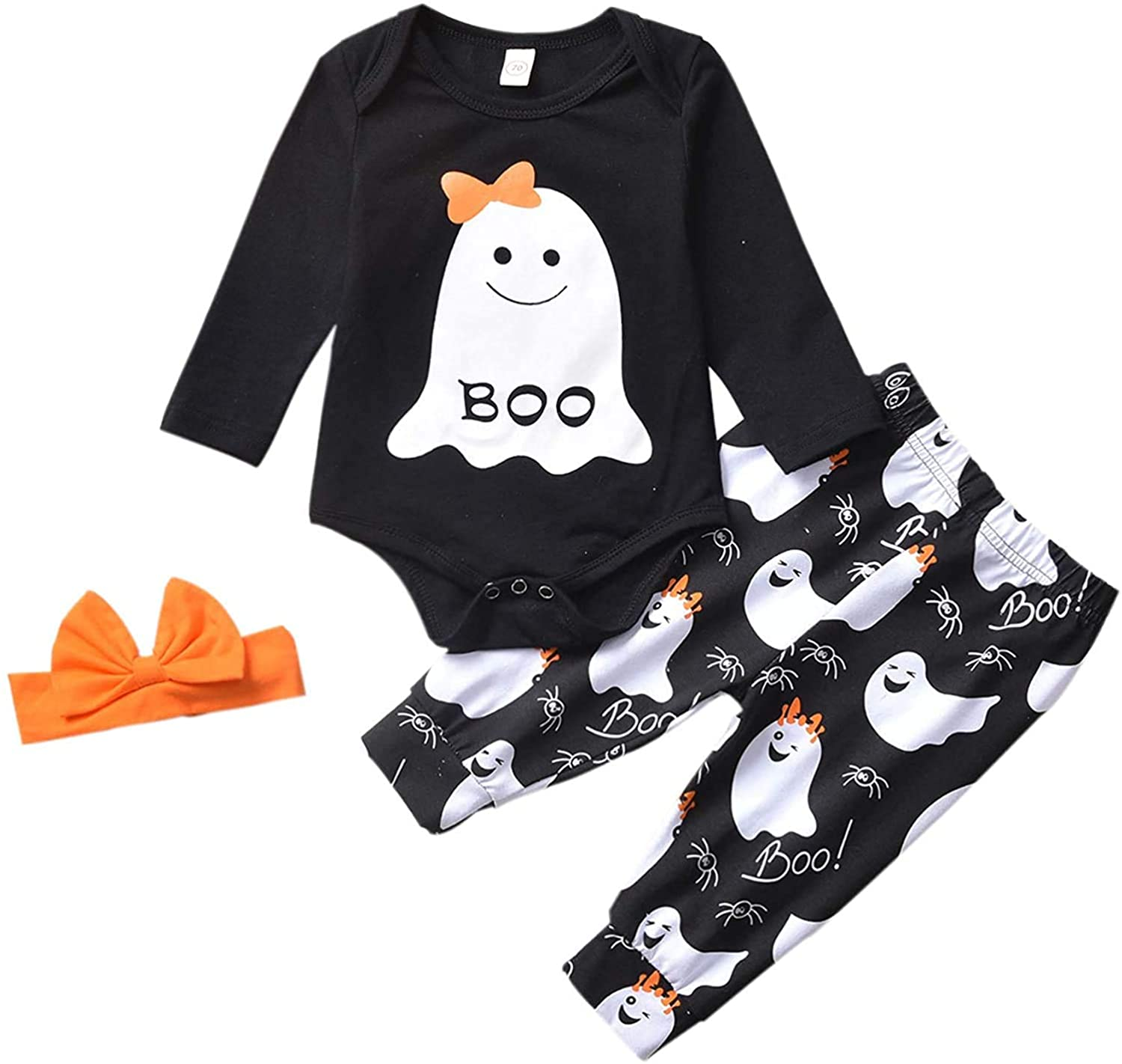 Newborn Baby Girl Halloween Outfit Boo Romper Bodysuit and Ghost Pants with Orange Headband 3PCS Clothes Set