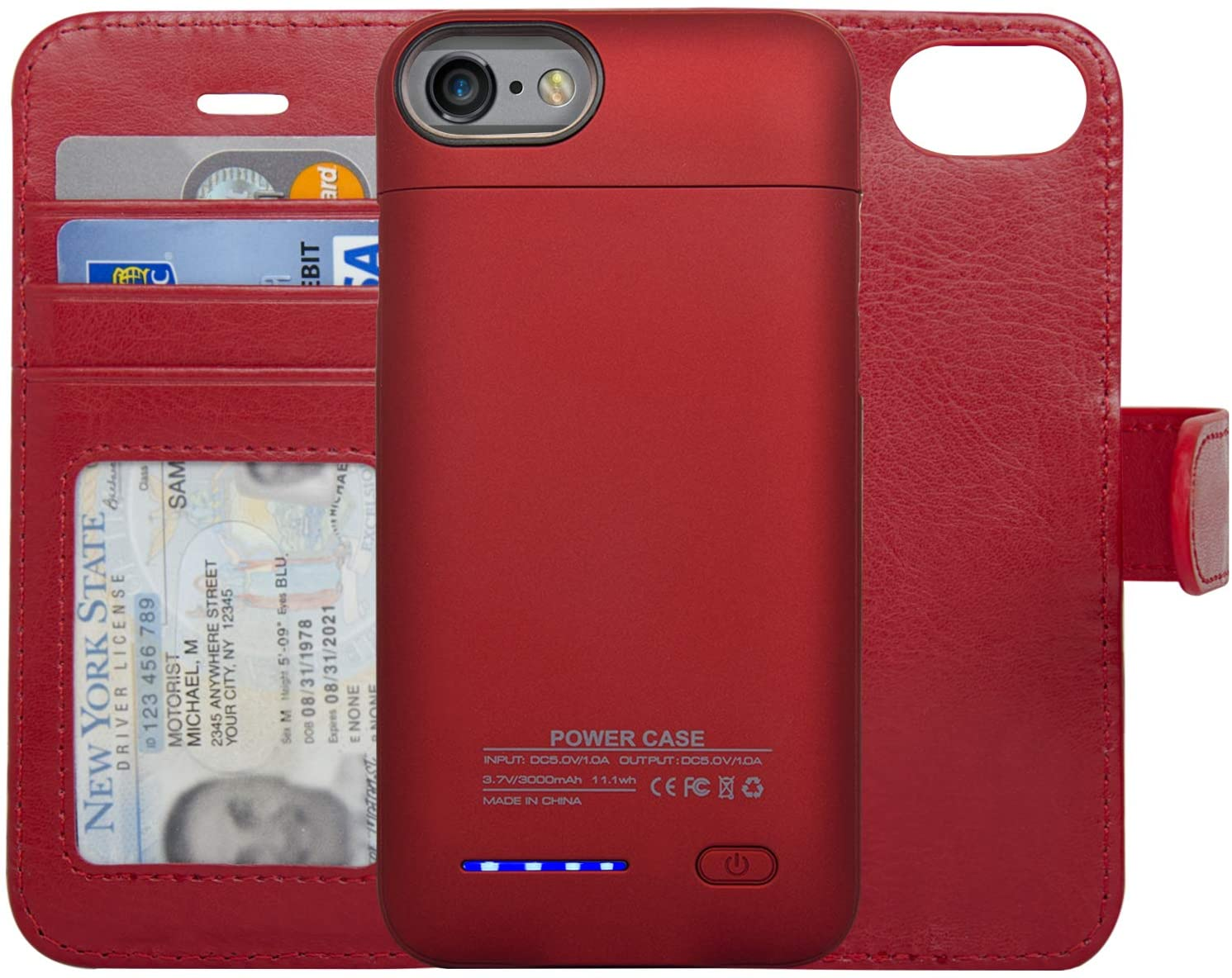 navor RFID Folio Wallet Magnetic Detachable Power Battery Case 3000mAh Compatible for iPhone 6/7 / 8 [4.7 Inch] - Red