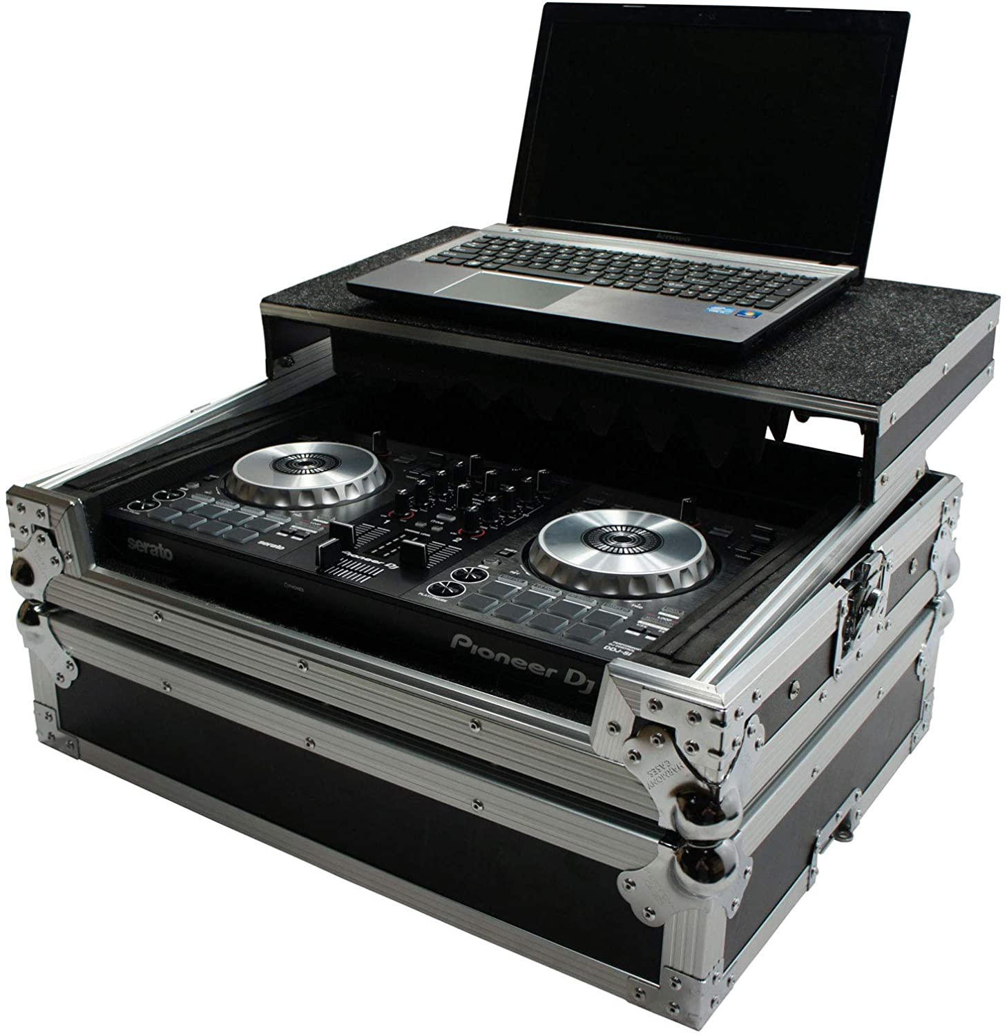 Harmony HCMINILT Flight Glide Laptop Stand Road DJ Case Compatible with Pioneer DDJ-4000