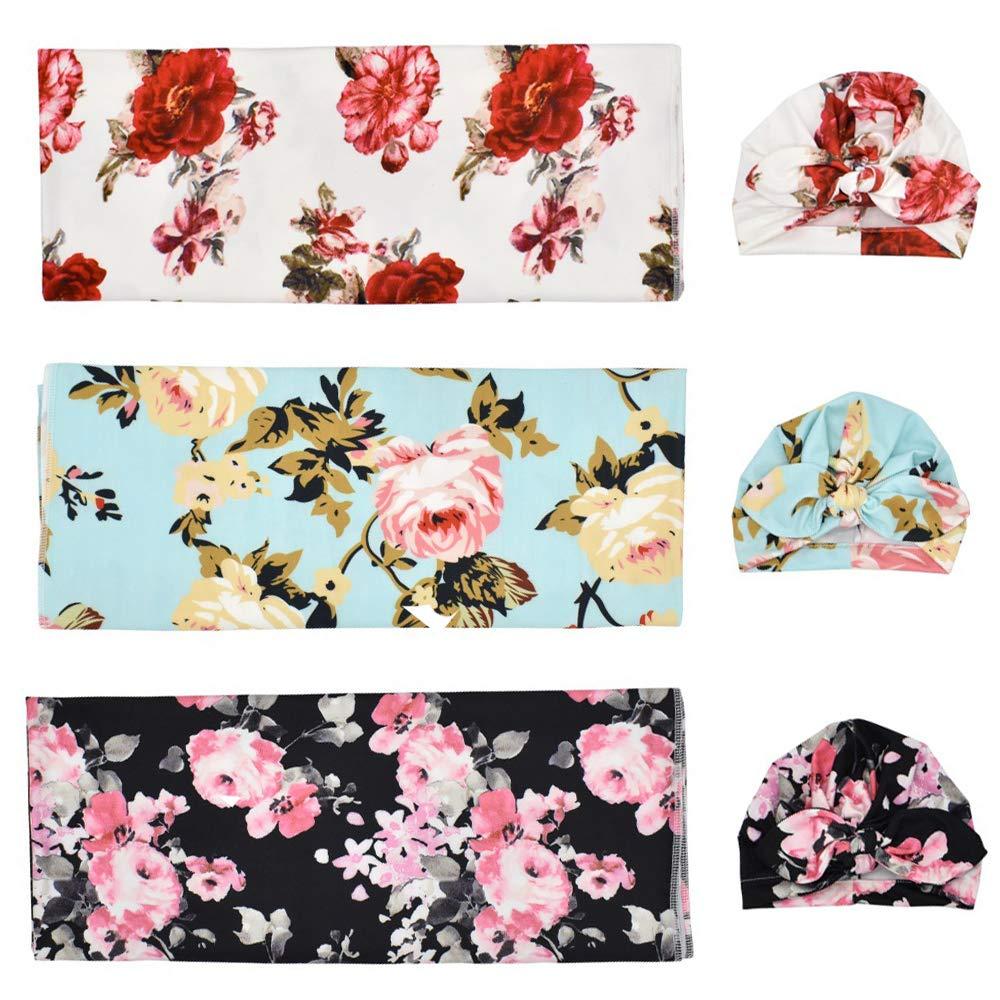 Kani Newborn Swaddle Blanket with Beanie Set, Floral Print Baby Swaddle Wrap Newborn Baby Sleep Swaddle Blanket, Pack of 3 Set