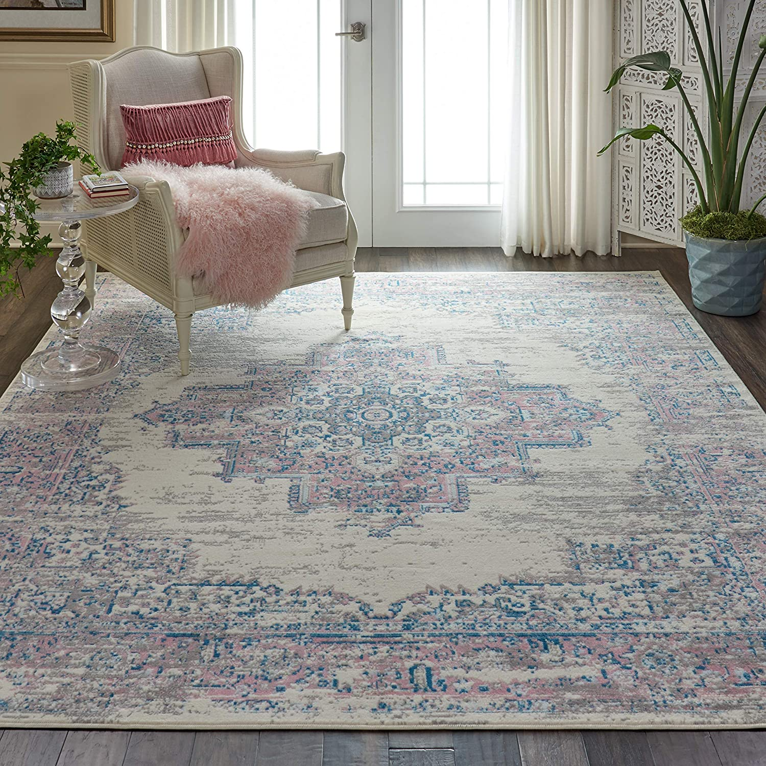 Nourison Grafix Persian Center Medallion Ivory/Pink Area Rug 7'10