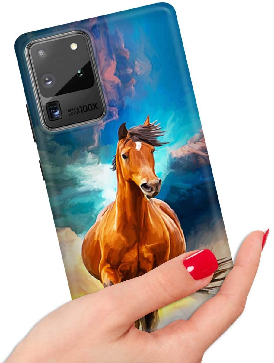 for Samsung S20 Ultra, Galaxy S20 Ultra, Quality Art Design Soft Edge IMD Phone Case Cover, IMD IMD0088 Horse Running