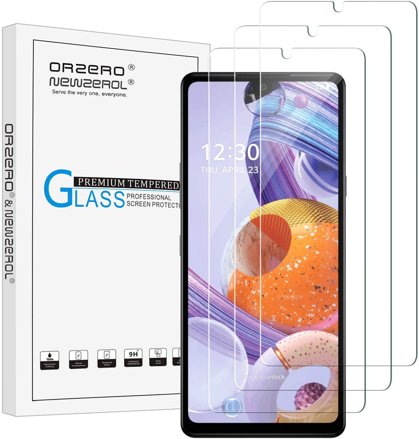 (3 Pack) Orzero Compatible for LG Stylo 6 Tempered Glass Screen Protector, 9 Hardness HD Anti-Scratch (Lifetime Replacement)