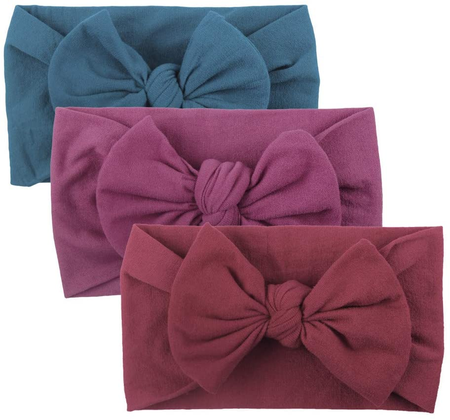 Baby Care, Girls Baby Toddler Turban Solid Headband Hair Band Bow 3PCS Accessories Headwear, Clothing for Baby Kids