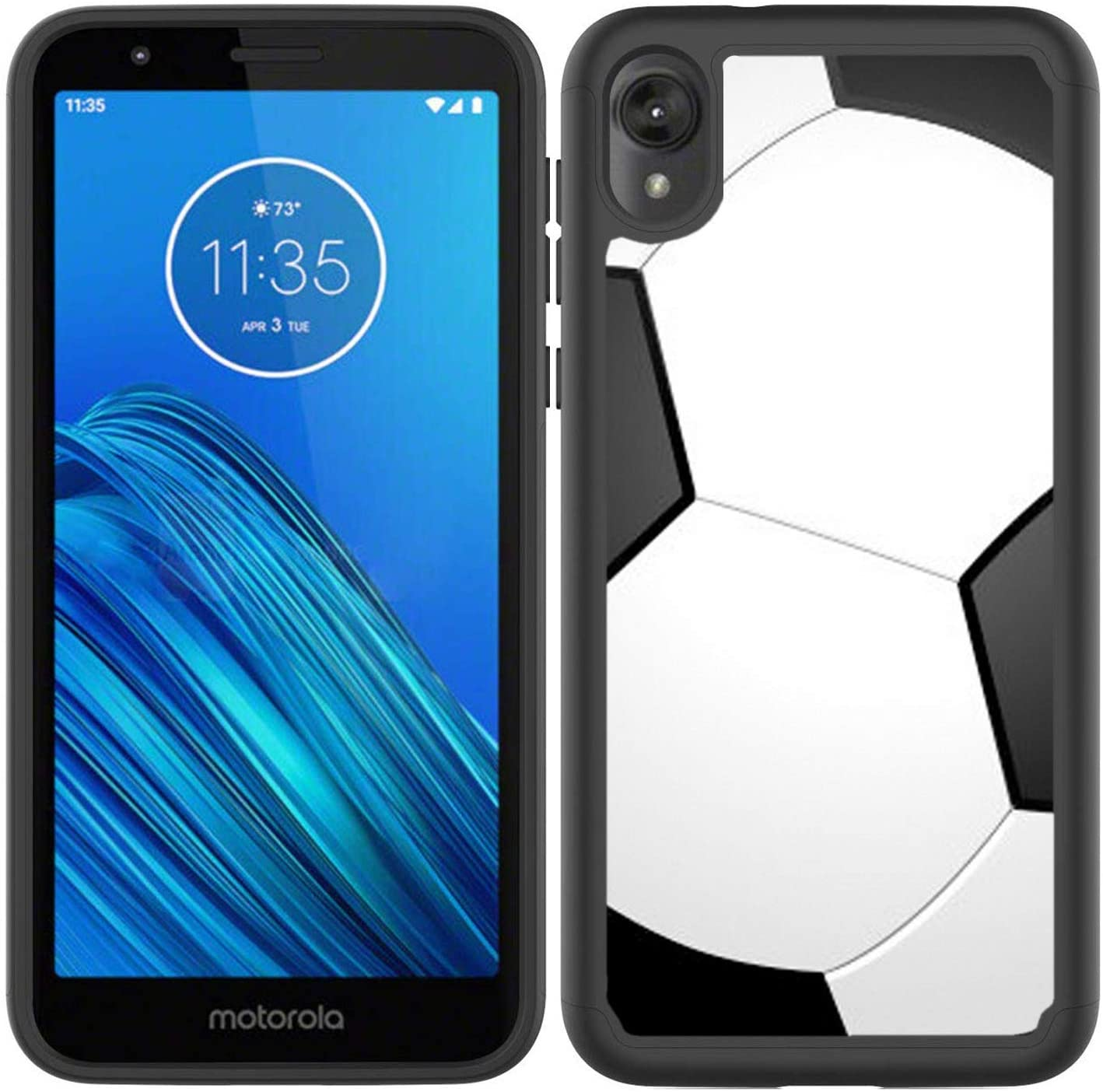 OptiCase Moto E6 Case - Soccer Hybrid Shockproof Unique Case with Great Protection