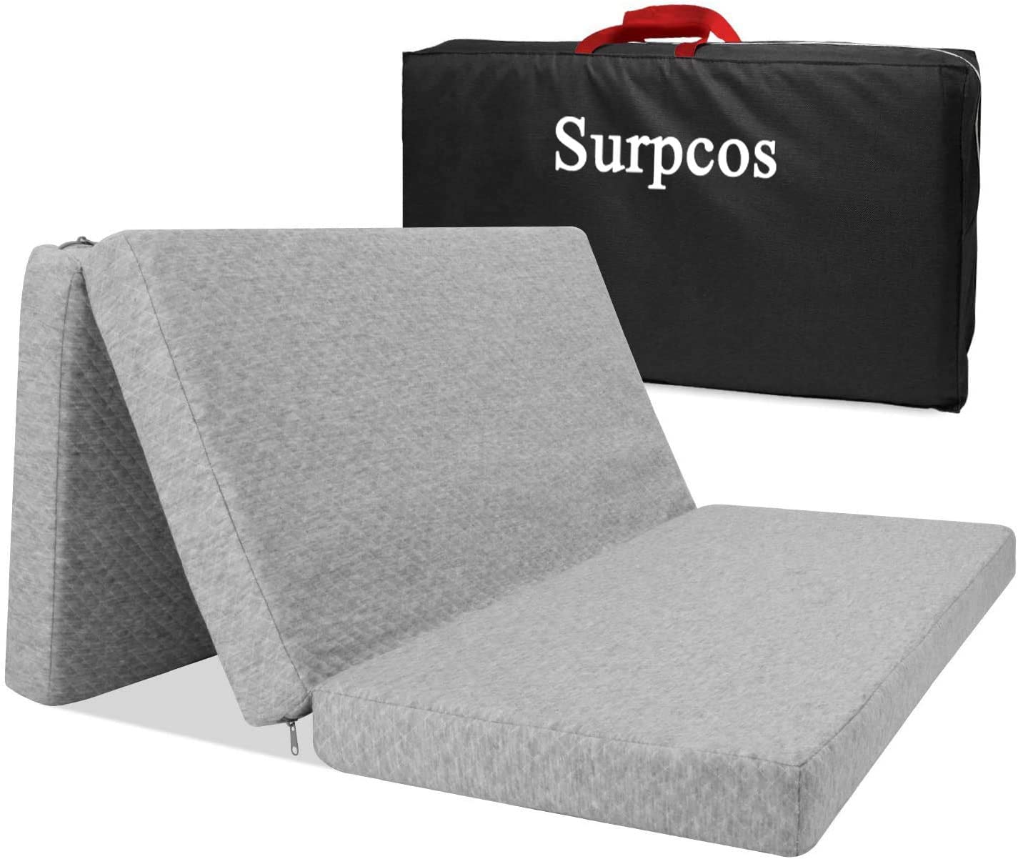 Surpcos Trifold Mattress Pad with Storage Bag, Portable Playard Mattress for Babies Infants or Toddlers, Foldable N Play Mattress for Cribs, Grey 38.5