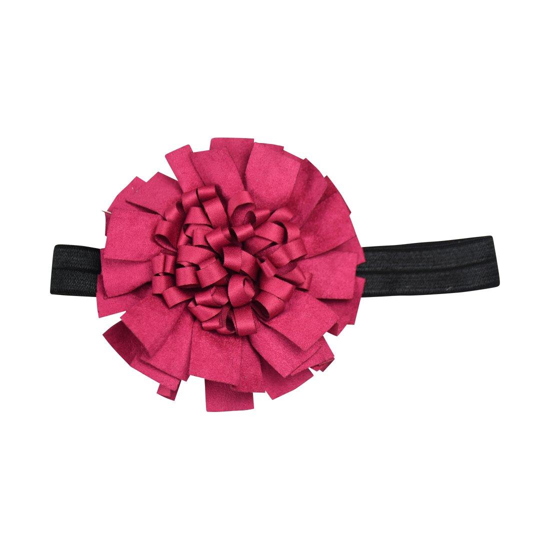 Raspberry Ruffle Ribbon Flower On Satin Baby Headband