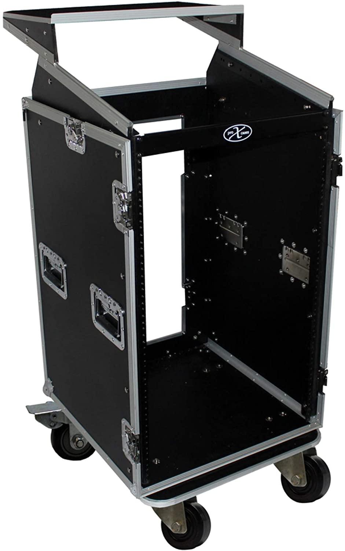 18U Rack x 10U Top Mixer DJ Combo Flight Case w/Laptop Shelf