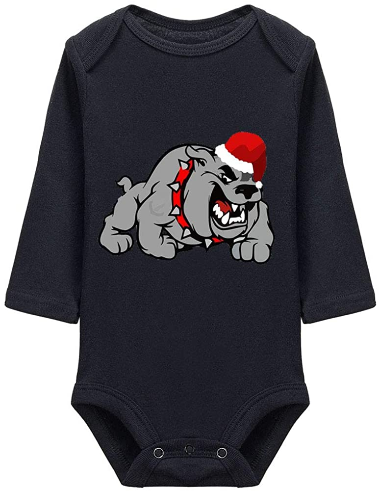 Furmall A Bulldog Preparing for Christmas Baby Bodysuit Cotton Infant Onesie Long Sleeve Bodysuit