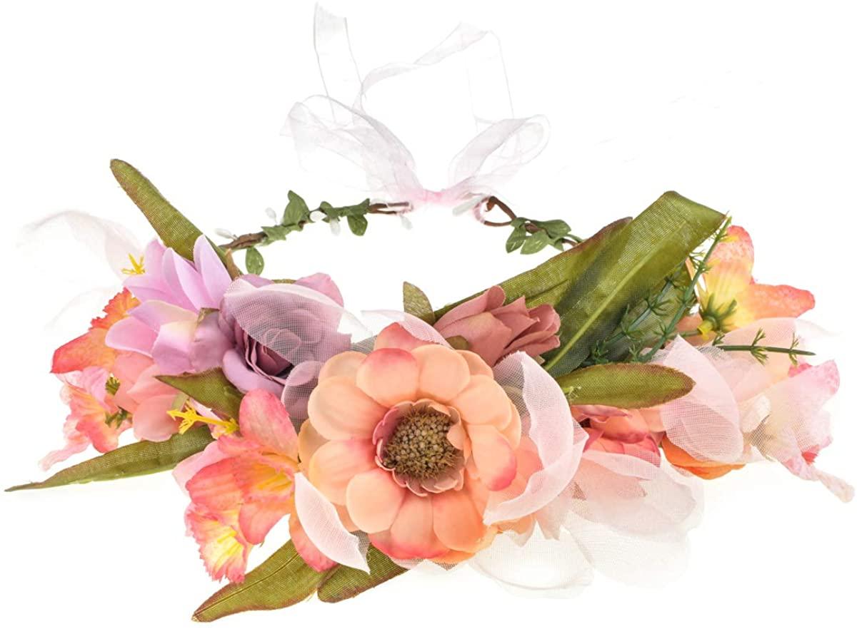 Vividsun Wedding Party Flower Crown Floral Wreath Headband Floral Garland Headpiece
