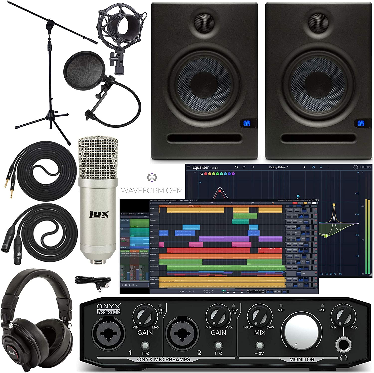 Mackie Onyx Producer 2-2 Audio/Midi interface With Pro Tools First/Tracktion Music Production Software, Eris E5 Pair Studio Monitors, Condenser Studio Microphone, XLR, Headphones, Mic Stand
