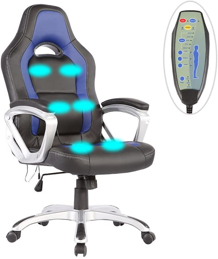 Mecor Massage Gaming Chair Heated 6 Vibration Massage Ergonomic Vibrating/Executive Computer Chair-Adjustable Height (Black&Blue)