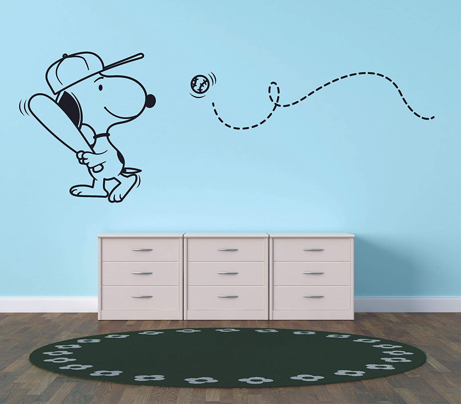 Snoopy Wall Decals For Kids Bedroom / Snoopy Dog Boy Room Decor / Vinyl Art Stickers Decal Childrens Rooms / The Peanuts Movie Cartoon Character Baseball Sports Fun Dogs Decoration- Size (27x30 inch)
