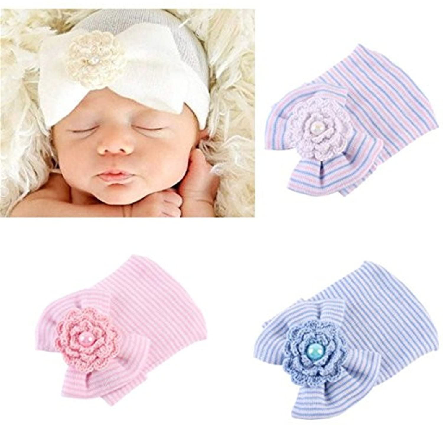 3Pcs Newborn Hospital Hat Infant Baby Hat Cap with Big Bow Soft Cute Knot Nursery Beanie