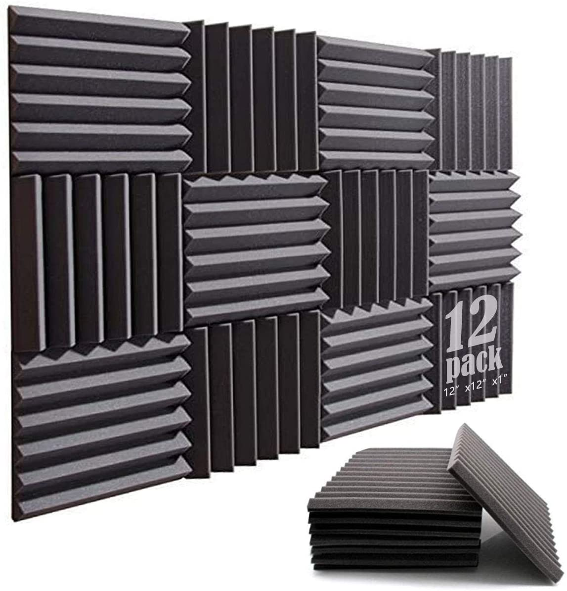 Acoustic Foam Panels 12 Pack, 12