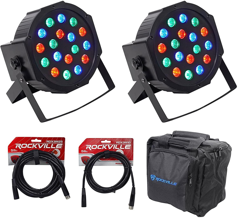 (2) Rockville RockPAR50 LED RGB Par Can DJ/Club DMX Wash Lights+Bags+Cables