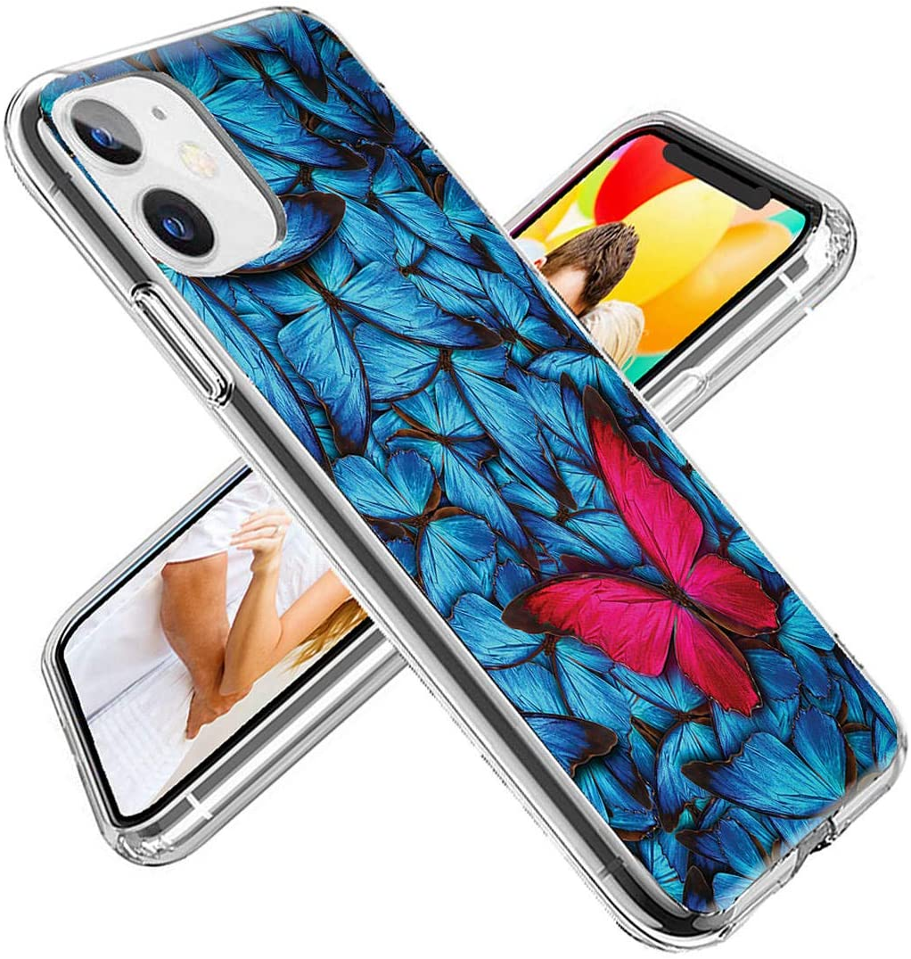 iPhone 11 Case Cute for Girls, ChiChiC 360 Full Protective Shockproof Thin Slim Flexible Soft TPU Clear Case Cover with Design for iPhone 11 XI 6.1,Cartoon Animal Pink Blue Butterfly