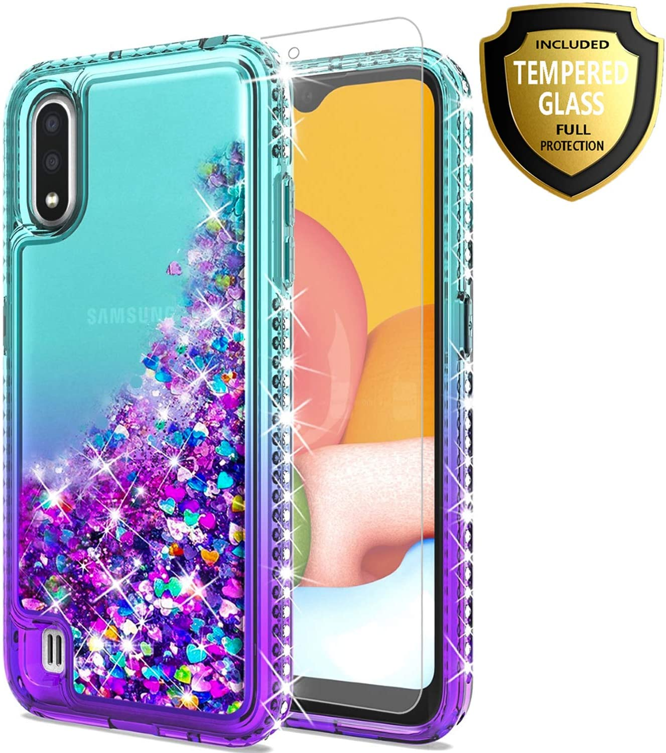 STARSHOP Samsung Galaxy A01 Phone Case, with [Tempered Glass Protector Included] Liquid Floating Glitter Quicksand Bling with Spot Diamond Cover - Teal/Purple