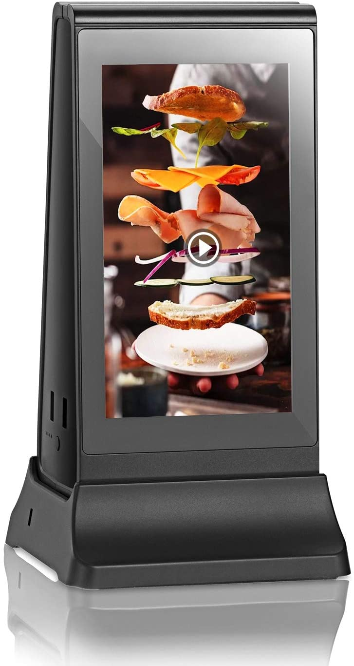 PowerSign ADX-4 WiFi Table Advertising Player Single LCD/Restaurant Menu/Charging Station ADX4 (White)