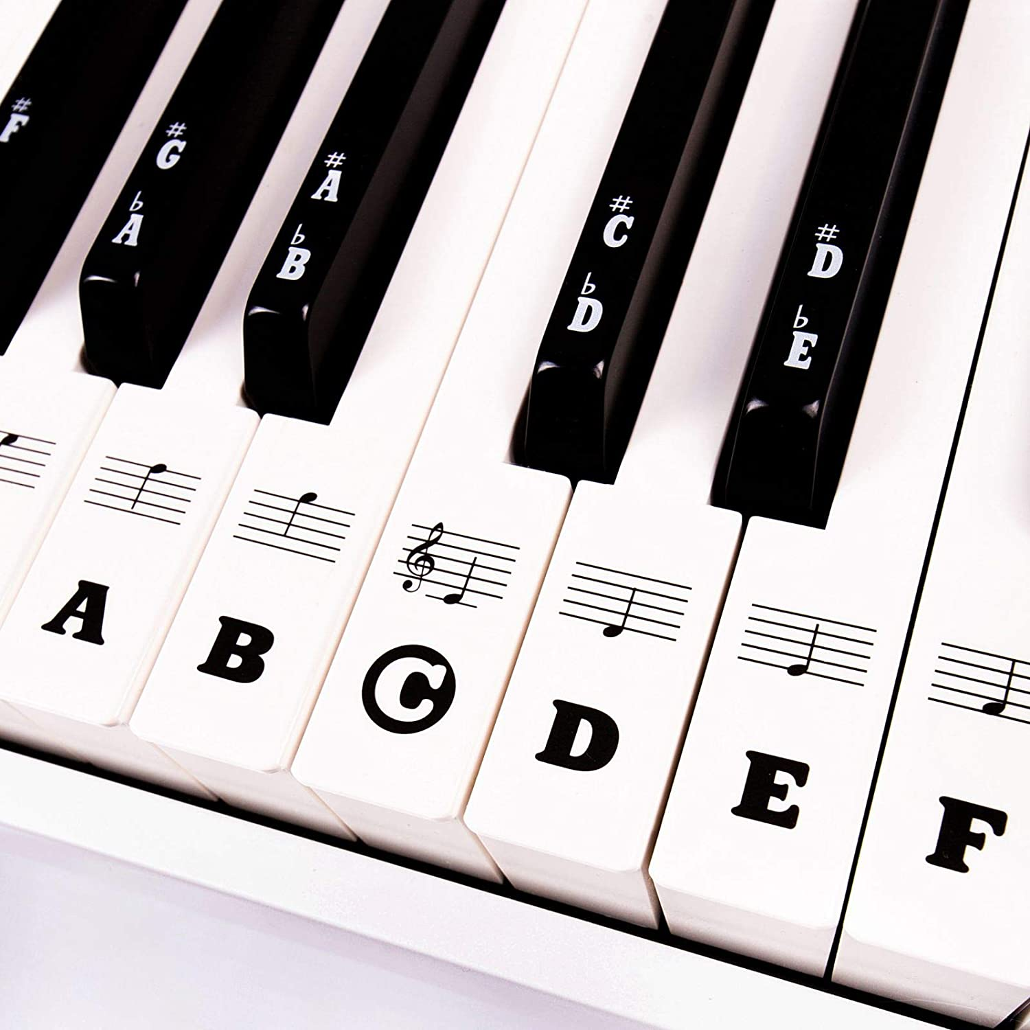 Piano Keyboard Stickers for Beginners 88/76/61/54/49/37 Keys - Removable, Transparent, Double Layer Coating Piano Stickers - Perfect for Kids, Big Bold Letters, Easy to Install with Cleaning Cloth
