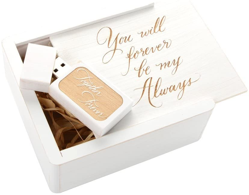 Wedding White 2.0 USB Flash Drive - Inserted into a Engraved Matching Box with Raffia Grass Inside. Laser Engraved Together Forever Design! (8GB)