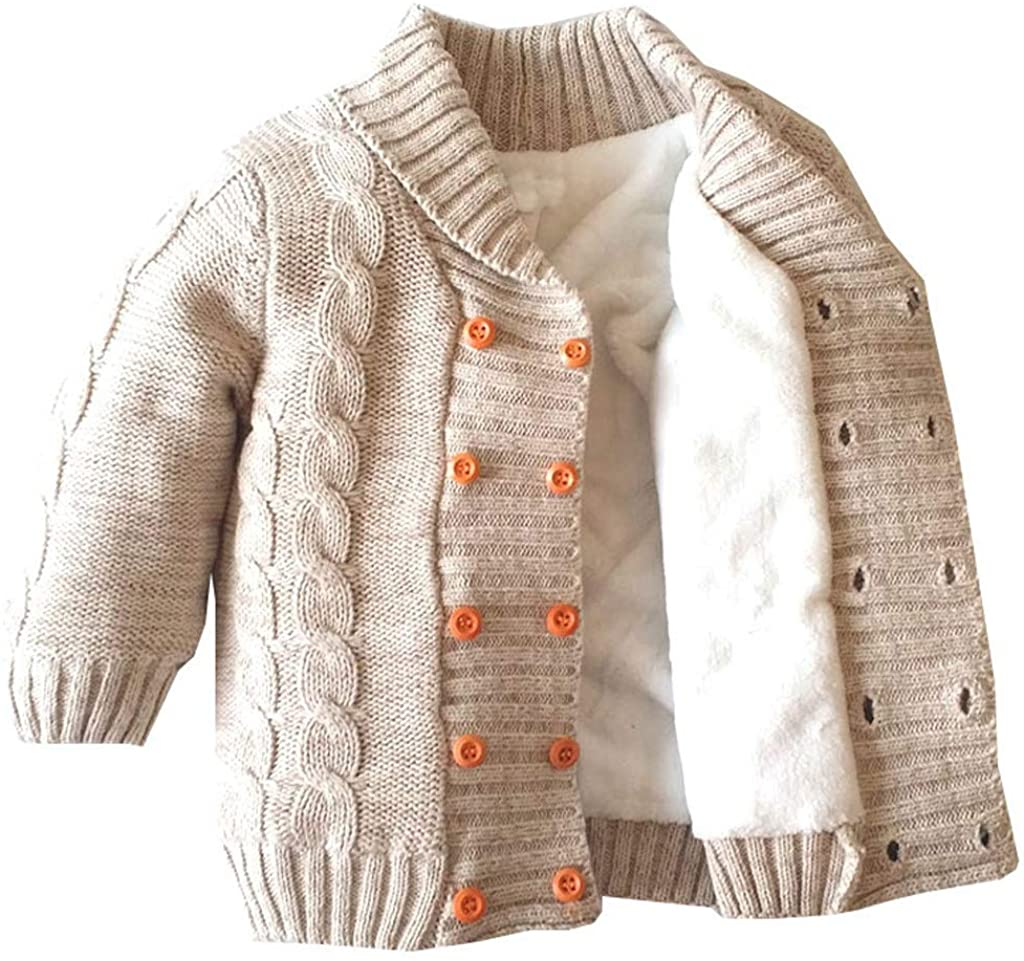Toddler Kids Knitted Coat Baby Girls Boys Fleece Lined Winter Warm Crochet Outwear Sweater Jacket for 0-5 Years