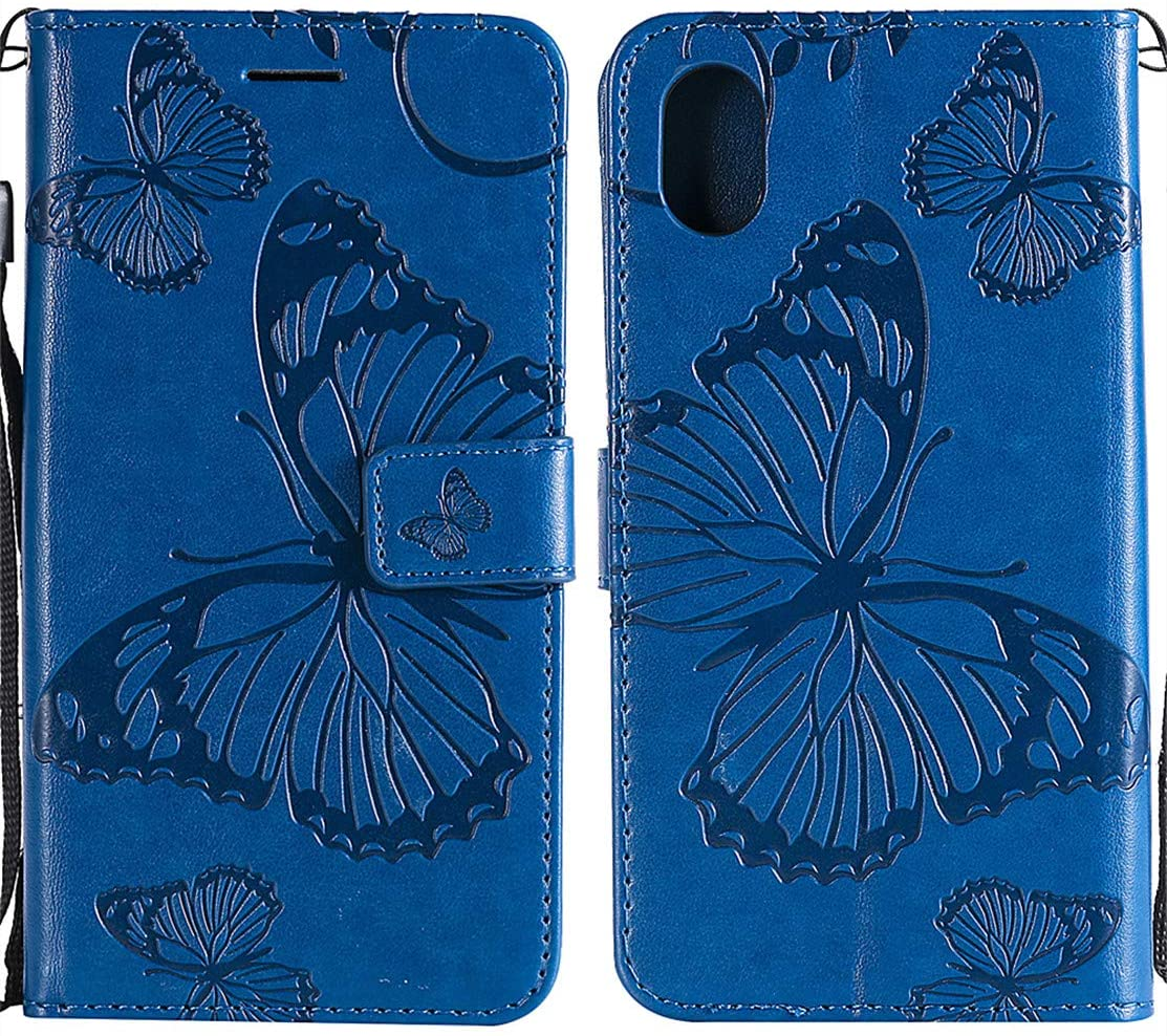 MEUPZZK iPhone XR Wallet Case, Embossed Butterfly Premium PU Leather [Folio Flip] [Kickstand] [Card Slots] [Wrist Strap] [6.1 inch] Cover for iPhone XR (B-Blue)