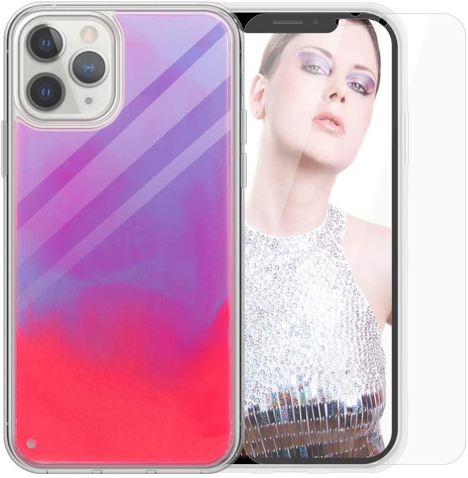 SanLead iPhone 11 Pro MAX Case, Quicksand Noctilucent Glitter Liquid Phone Case TPU & PC Anti-Scratch Leak-Proof Back Cover with Screen Protector