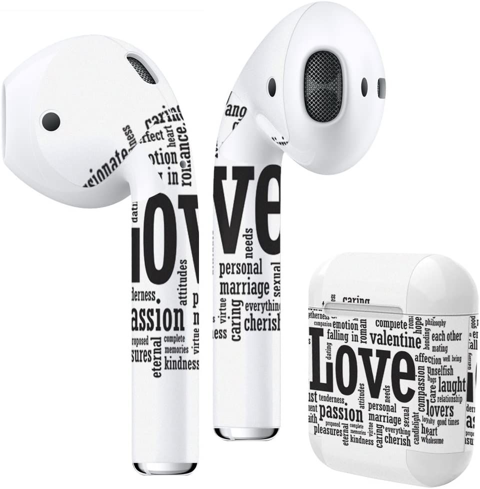 Airpods Skin + Case Skin Sticker Skin Decal for airpod Compatible with AirPods 1st(2016) and 2nd(2019) Stylish Covers for Protection & Customization 009299 English White Black Love