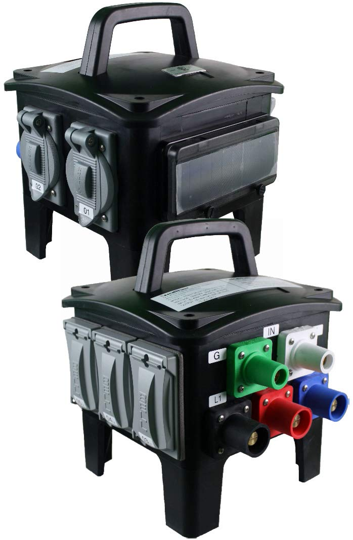 Walther Electric Power Distribution Box Spider Boxes HEB3104U Single Tier 3PH 80A 3-Pole 5-Wire PDU UL Listed - Safe Reliable for Installations of All Kinds: Welding Motor Gen-Sets Compressors