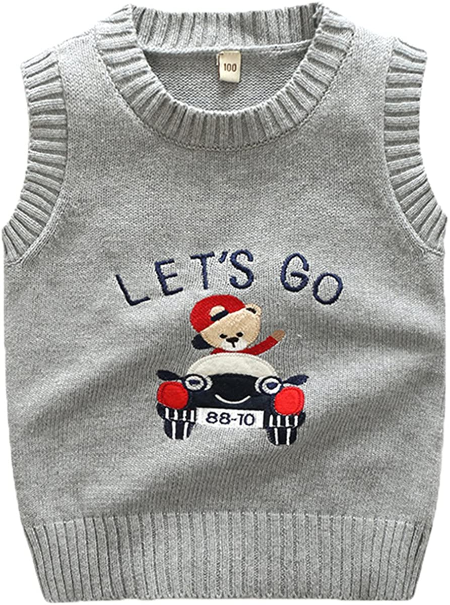 JELEUON Kids Toddler Kids Little Boys Girls Sleevelvess V-Neck Cartoon Bear Cable Knit Pullover Sweater Vest