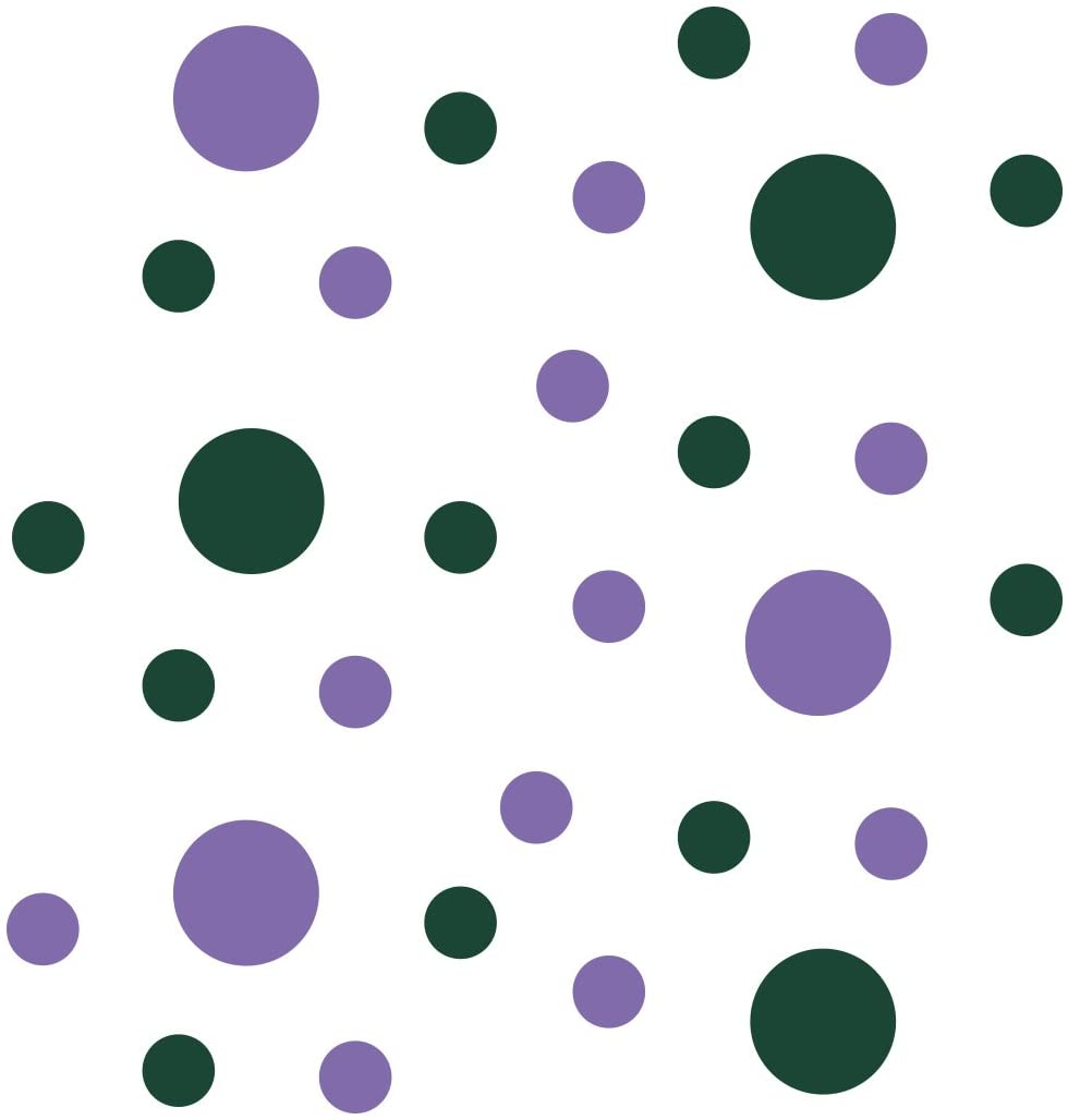 Set of 30 - Lavender/Dark Green Circles Polka Dots Vinyl Wall Graphic Decals Stickers