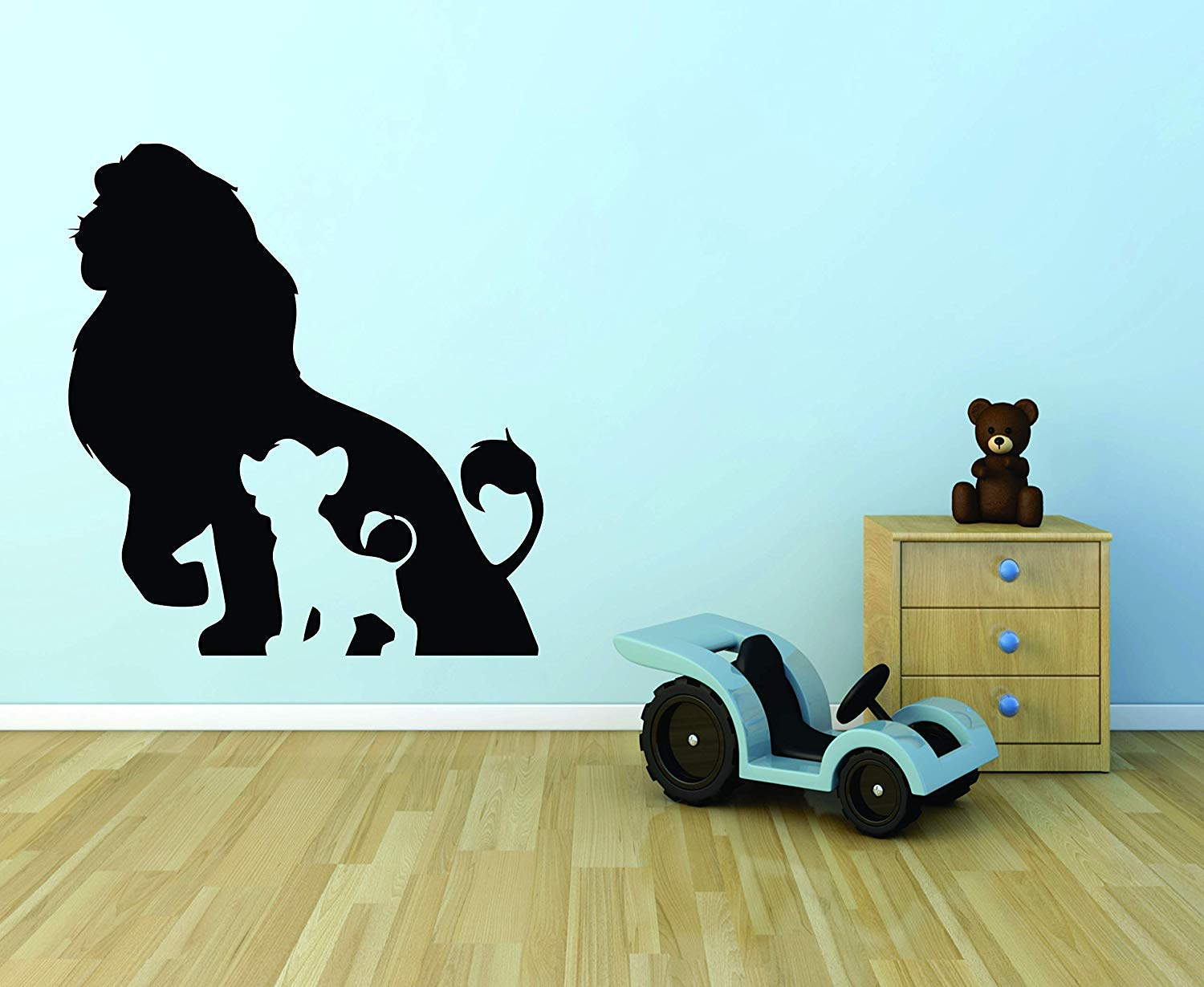 The LION KING WALL DECALS FOR KIDS ROOMS Simba Mufasa DESIGNS Decor Lions Boys Boy Childrens Creative Animated Vinyl Decal Removable Stickers for Bedrooms Artwork Family Stick together Size 40x35 inch