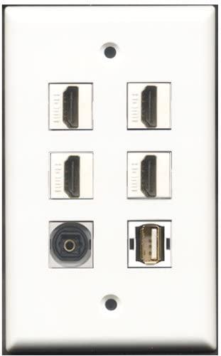 RiteAV - 4 Port HDMI 1 USB A-A 1 Toslink Wall Plate