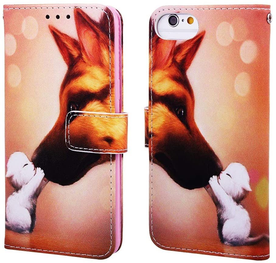 ISADENSER iPhone 6 Case iPhone 6S Case [Wallet Stand] Cute Animals Flip Folio Notebook PU Leather Case with Magnetic Close Card Holder Slots Pouch Case Cover for iPhone 6 / iPhone 6S Love Kiss YB