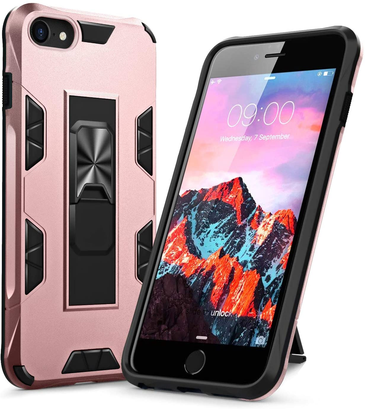 KUMEEK for iPhone SE 2020 Case, iPhone 8 Case, iPhone 7 Case, Kickstand Full Body Heavy Duty Shockproof Cover for iPhone SE 2020& iPhone 8/7 4.7 inch - Rose Gold
