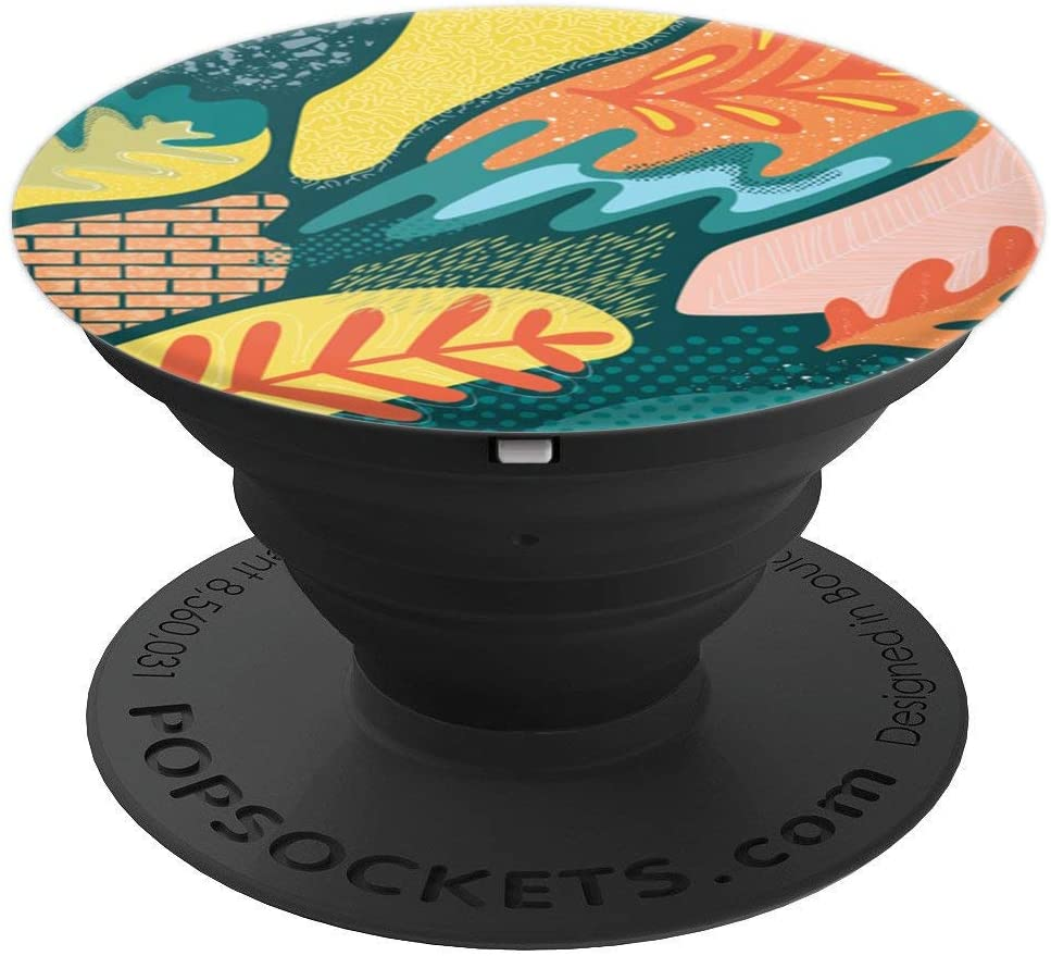Whimsical Coral Turquoise & Yellow Elements Pattern PACJ0512 PopSockets Grip and Stand for Phones and Tablets