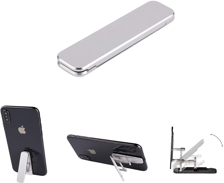 Cell Phone Holder Kickstand,Super Light Finger Holder for Back of Phone Portable Foldable Desktop Cell Phone Holder Adjustable Universal Multi-Angle Cradle for All Smartphones (Silver)