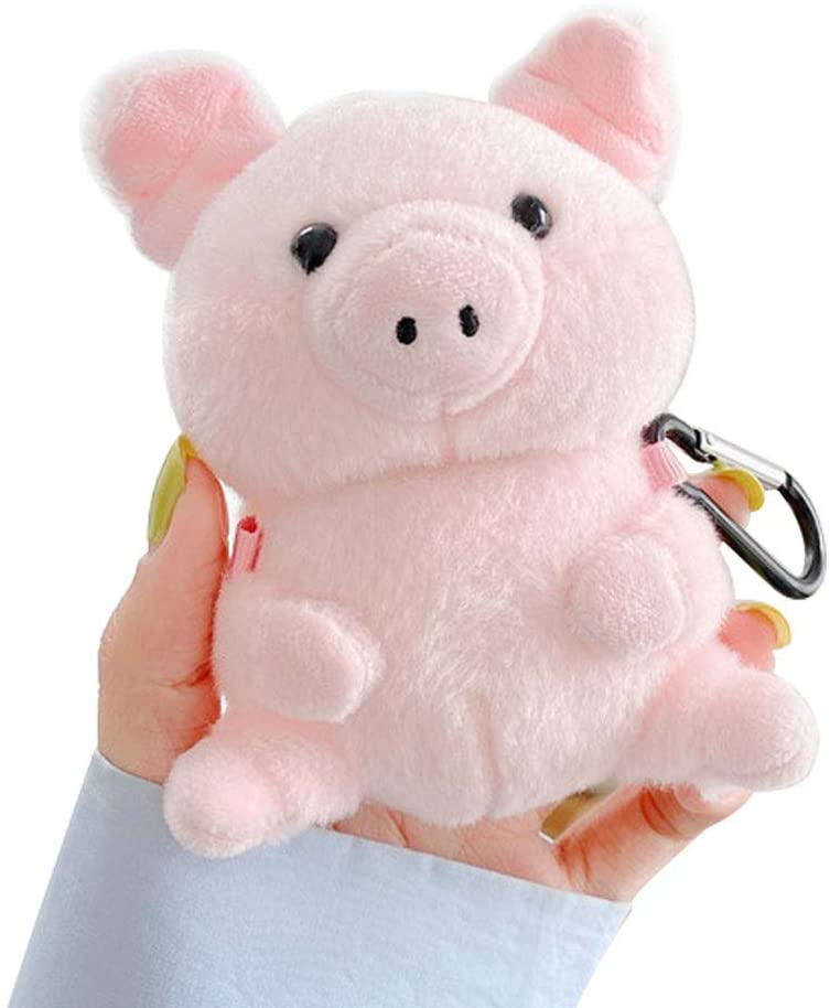 UR Sunshine AirPods 1/2 Case, Super Cute Creative Plush Toy Style Stuffed Sitting Pink Pig AirPods Case, Bag Pendant Hard PC Earphone Protection Cover Skin Compatible with AirPods1&2 +Hook