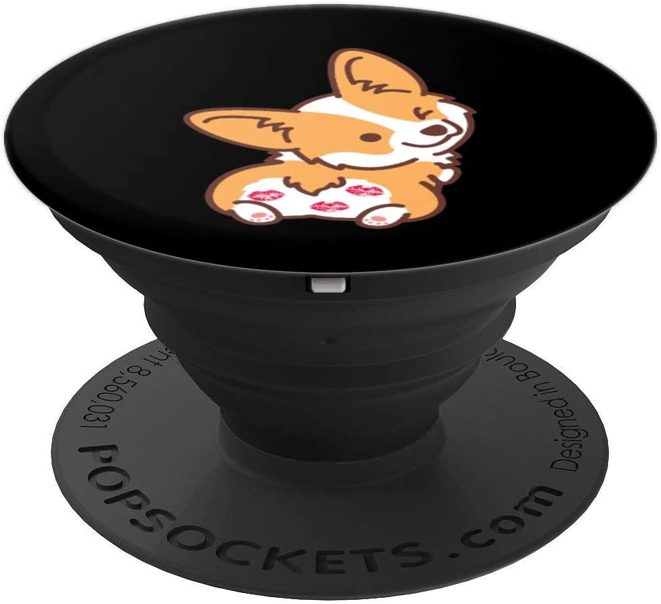 Corgi Butt Puppy Dog With Lipstick Kisses Fur Mom Gift PopSockets Grip and Stand for Phones and Tablets