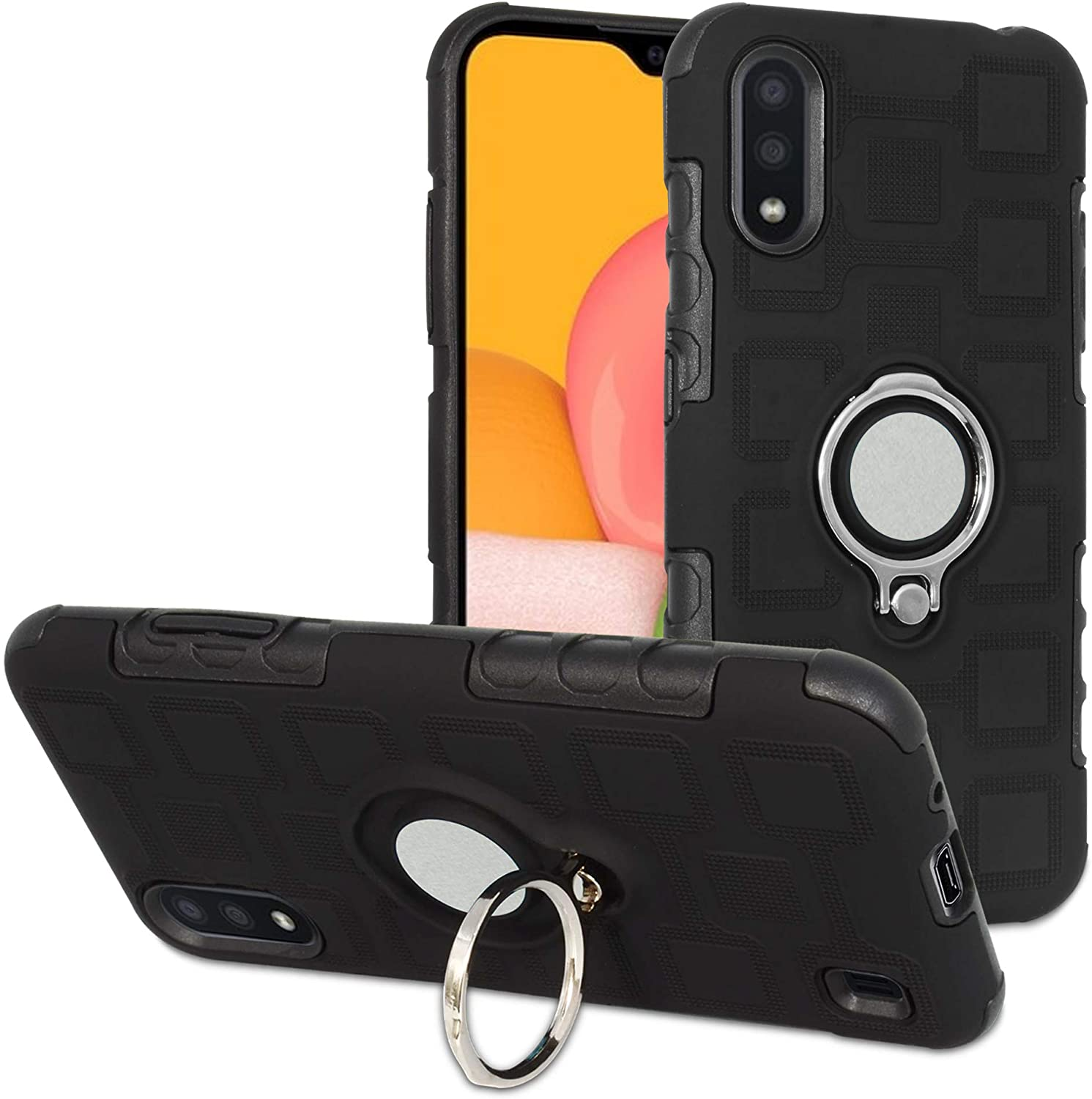 Labanema Case for Galaxy A01, Hybrid Dual Layer 360 Degree Rotation Ring Holder Kickstand Armor Slim Protective Cover for Samsung Galaxy A01 - Black