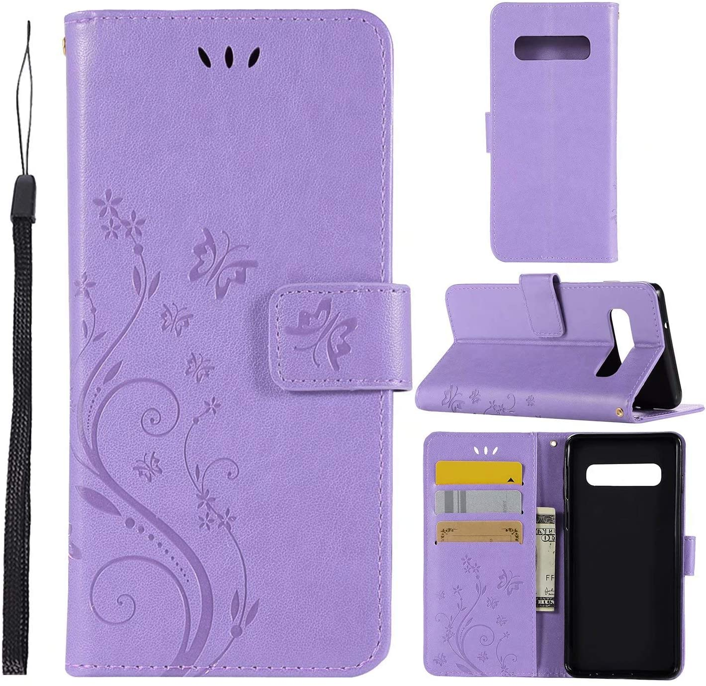 Galaxy S10 Case,Galaxy S10 Wallet Case,LW-Shop for Samxung Galaxy S10 PU Leather Case Magnetic Design Flip Leather Cover with Flower Butterfly Pattern (Light Purple, S10)