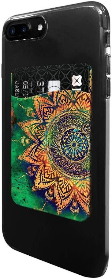 FINCIBO Ultra Slim Self-Adhesive Universal Credit Card Holder Wallet for All Smart Mobile Cell Phones, Ancient Mandala
