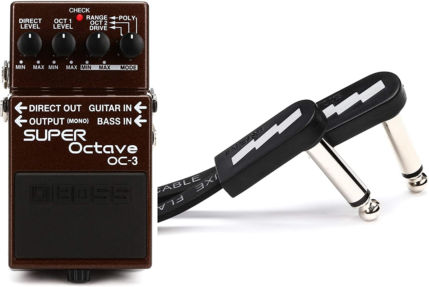 Boss OC-3 Dual Super Octave Pedal + EBS PCF-DL18 Deluxe Flat Patch Cable - 7.09