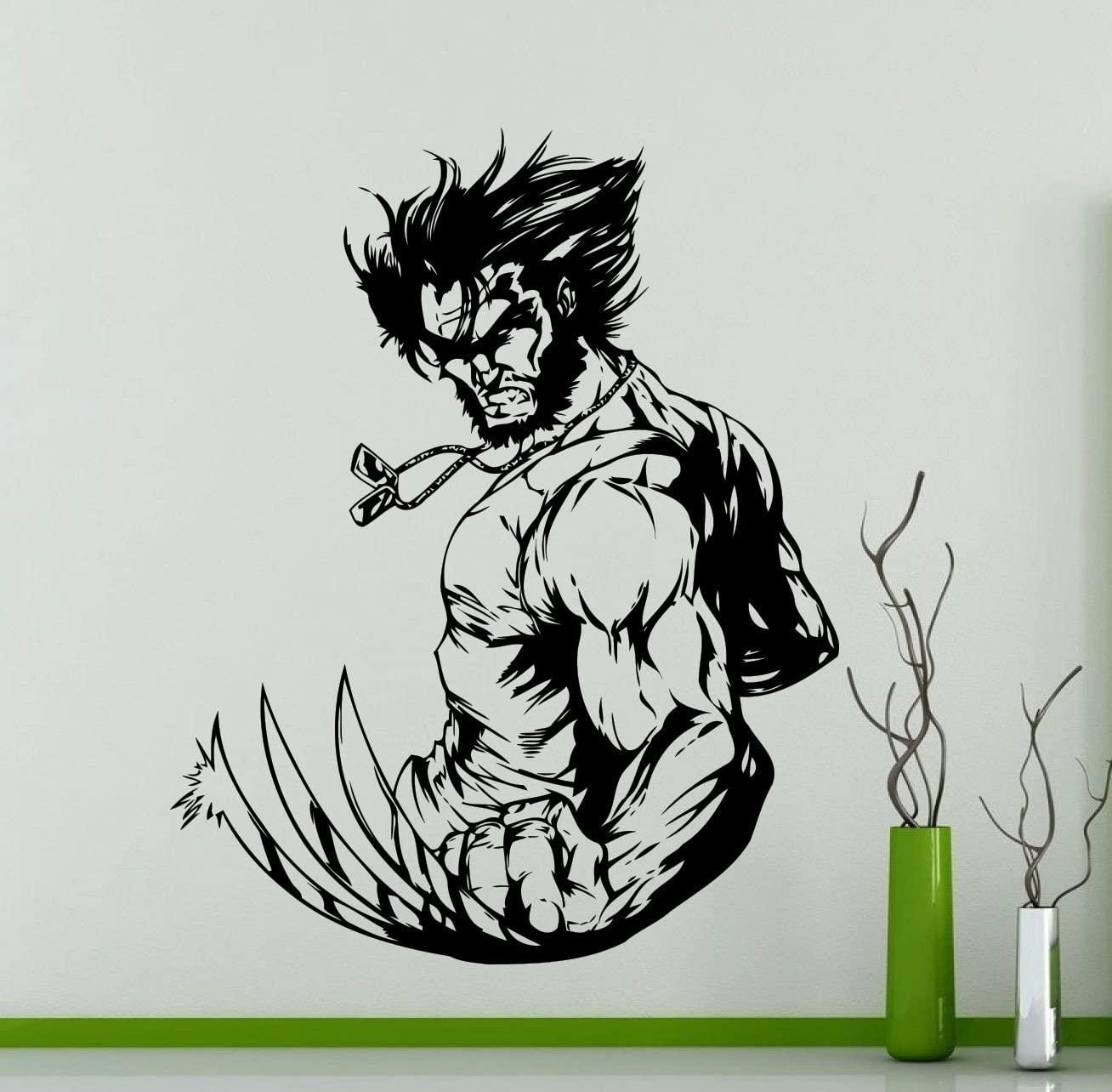 Wolverine Wall Decal Hugh Jackman Superhero DC Marvel Comics Vinyl Sticker Home Nursery Kids Boy Girl Room Interior Art Decoration Any Room Mural Waterproof Vinyl Sticker (284su)