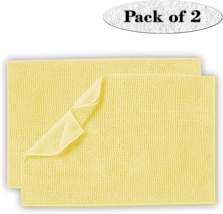 Lavish Touch Set of 2 Chenille Bathroom Rug 20x32 Non Slip Extra Soft Absorbent Shaggy Rugs, Machine Washable Bath Mat, Perfect Plush Bath Rug for Tub, Shower & Bath Room- Lemon Yellow