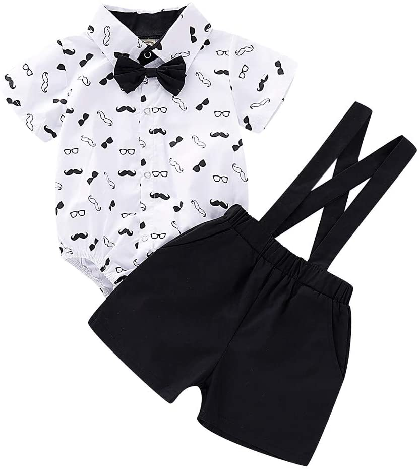 Fineday Boys Outfits&Set, Infant Baby Boys Gentleman Beard Romper Suspenders Strap Shorts Set Outfits, Clothes for Boys and Girls
