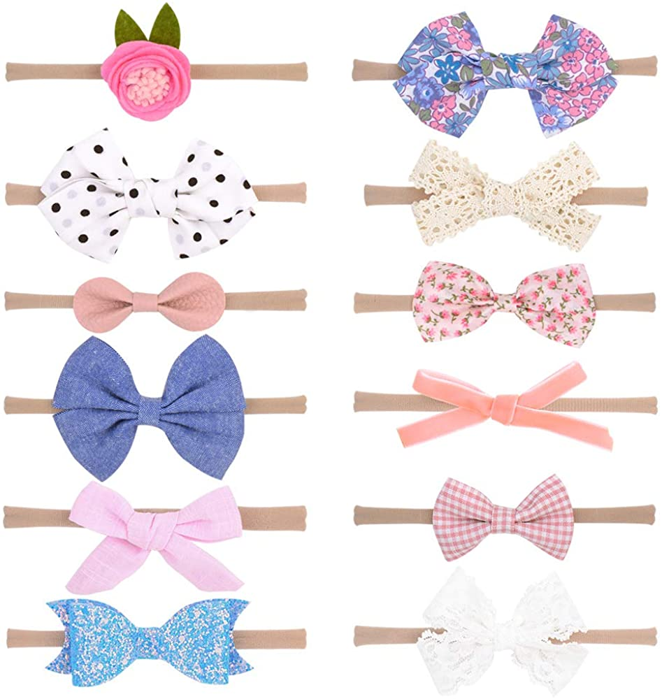Baby Girls Nylon Headbands, IIS Chiffon Flowers Bows Newborn Infant Toddler Hairbands and Child Hair Accessories